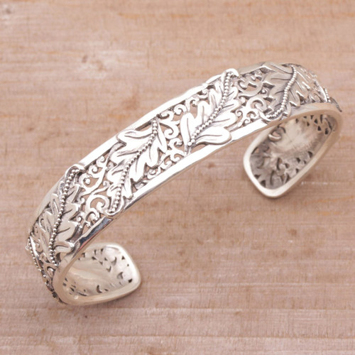 Leafy Sterling Silver Cuff Bracelet from Bali 'Majestic Leaves'