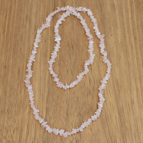 Natural Pink Rose Quartz Beaded Necklace from Brazil 'Pink Infatuation'