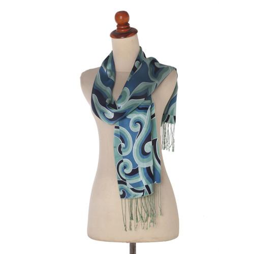 Blue and Green Patterned Batik Silk Scarf from Bali 'Mega Mendung'