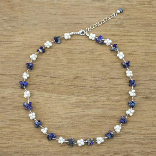 Artisan Crafted Lapis Lazuli and Cultured Pearl Necklace 'Chiang Mai Memories'