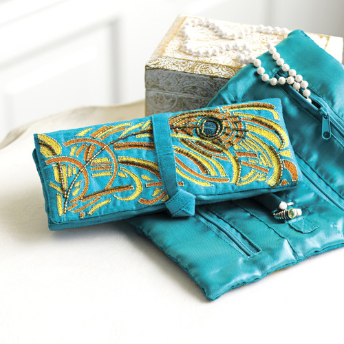 Peacock Theme Turquoise Embroidered Silk Jewelry Roll 'Turquoise Royal Peacock'