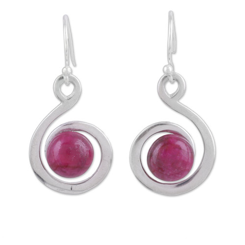 Handmade Ruby and Sterling Silver Dangle Earrings from India 'Crimson Swirl'