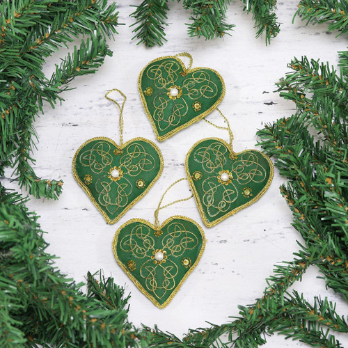 Four Heart-Shaped Beaded Ornaments in Green from India 'Green Hearts'