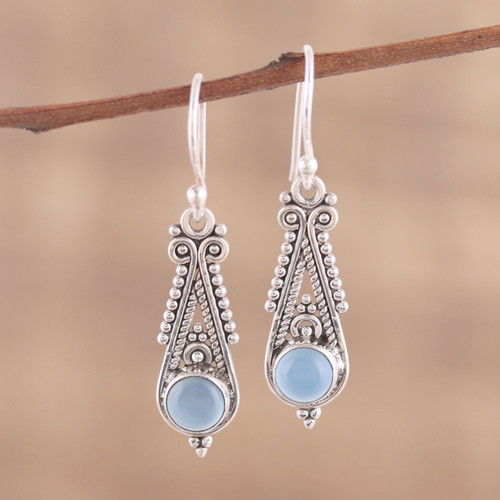 Pointed Chalcedony Dangle Earrings from India 'Regal Peaks'