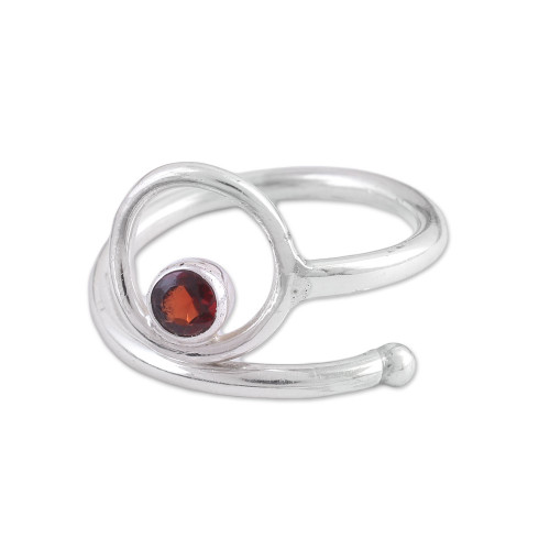 Single Stone Sterling Silver Ring with Garnet from India 'Solidarity'