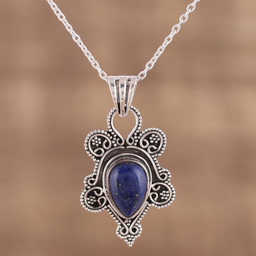 Teardrop Lapis Lazuli and Silver Pendant Necklace from India 'Royal Teardrop'
