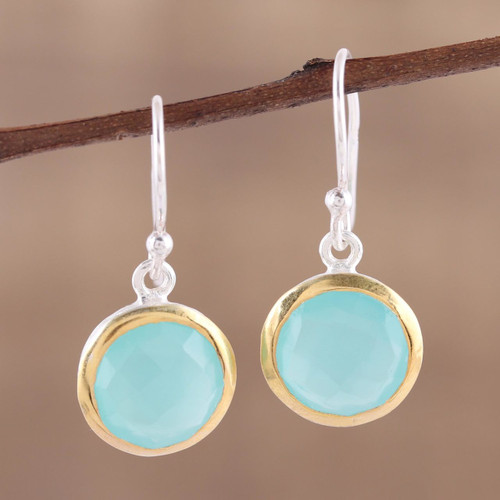 Aqua Chalcedony Earrings with 18k Gold Accents 'Dewy Glade'