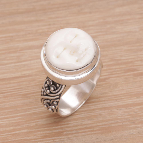 Hand Carved Bone And Sterling Silver Face Ring Serene Repose Unicef Market Canada
