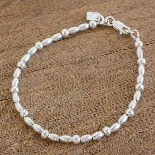 High-Polish Sterling Silver Beaded Bracelet from Guatemala 'Gleaming Combination'