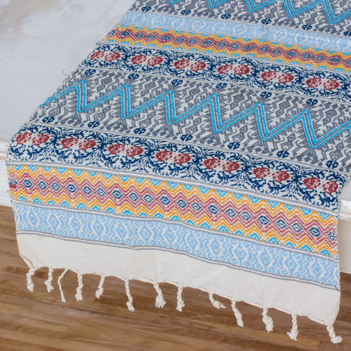 Hand Woven Multicolored Table Runner from Guatemala 'Tradition in Sky Blue'