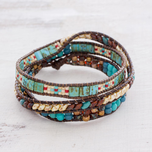 Handmade Glass beaded Wrap Bracelet from Guatemala 'Santiago Atitlan Adventure'