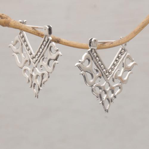 Tribal Style Sterling Silver Hoop Earrings from Bali 'Tribal Fire'