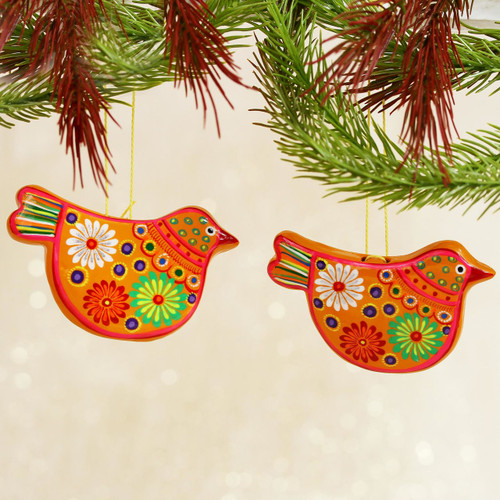 2 Yellow Floral Ceramic Peace Dove Ornaments Crafted by Hand 'Marigold Dove'
