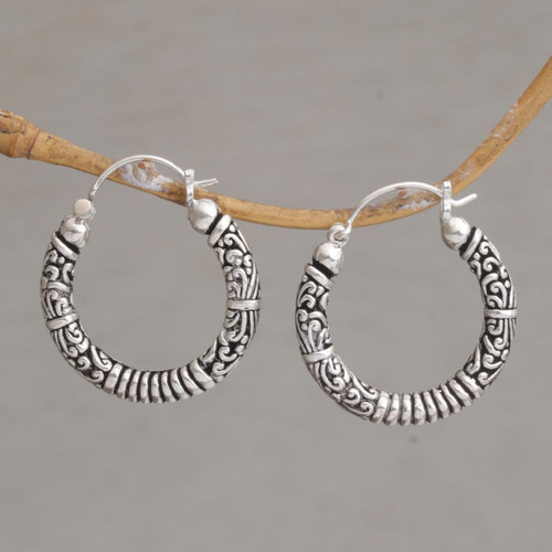 Artisan Crafted Sterling Silver Hoop Earrings from Bali 'Lightweight Feeling'
