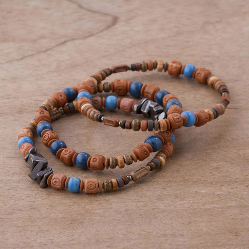 Three Hematite and Ceramic Beaded Bracelets in Earth Tones 'Andean Eyes'