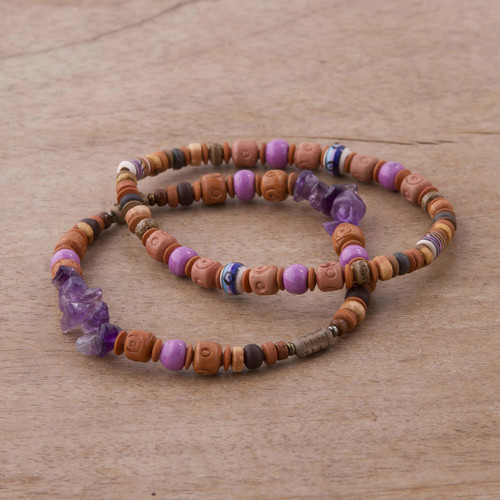 Two Amethyst and Ceramic Beaded Stretch Bracelets from Peru 'Andean Joy'