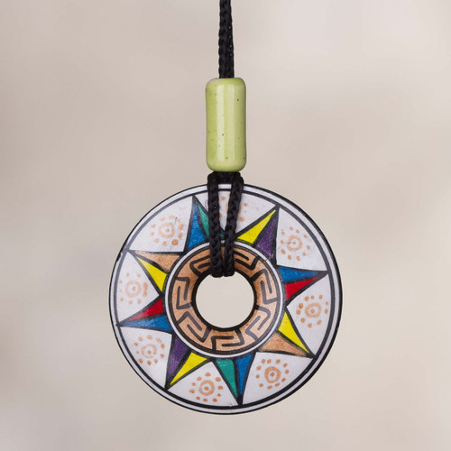 Ceramic Pendant Necklace with Multicolored Sun from Peru 'Sun of Many Colors'