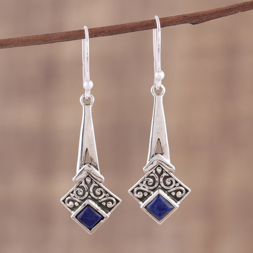 Lapis Lazuli and Sterling Silver Dangle Earrings from India 'Timekeeper'