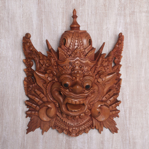 Hand Carved Suar Wood Bhoma Wall Mask from Indonesia 'Bhoma Guardian'