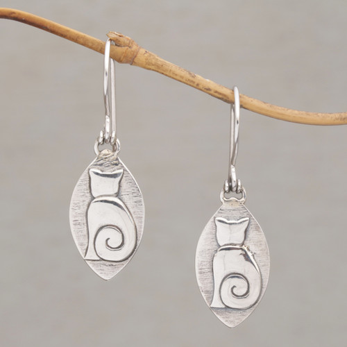 Cat Motif Sterling Silver Dangle Earrings from Bali 'Kitten Pose'