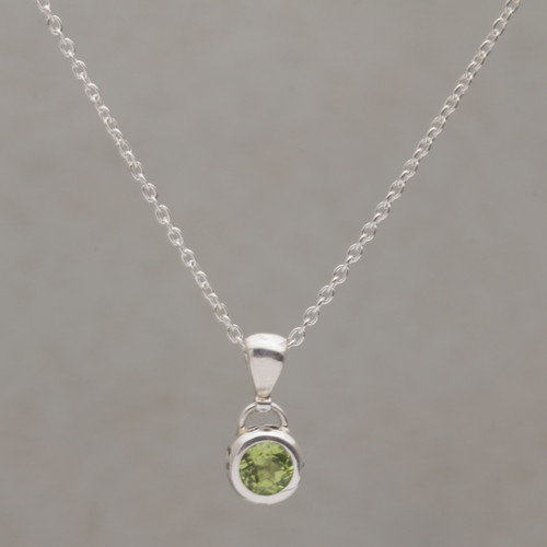 Peridot and Sterling Silver Pendant Necklace from Bali 'Glowing Paws'