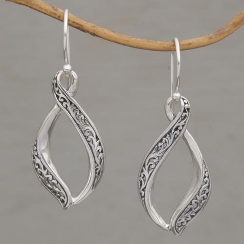 Hand Crafted Sterling Silver Scroll Work Dangle Earrings 'Wind Dance'