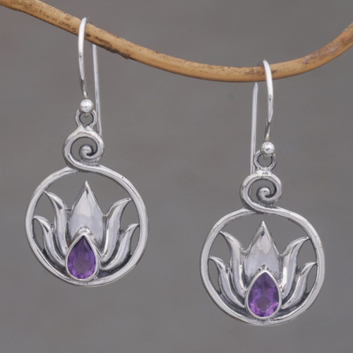 Handmade 925 Sterling Silver Amethyst Lotus Earrings 'Lotus Soul'