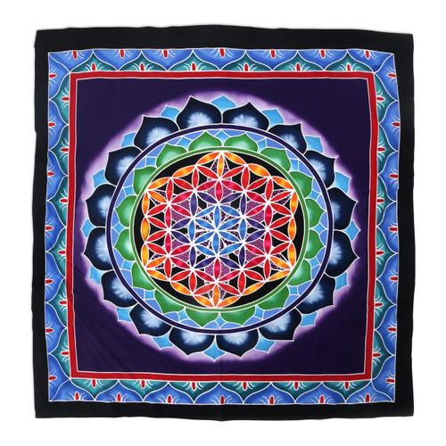 Artisan Crafted Rainbow Floral Mandala Rayon Wall Hanging 'Rainbow Petal Mandala'