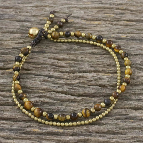 Handmade Tiger's Eye Brass Beaded Bracelet with Loop Closure 'Valley of Amber'