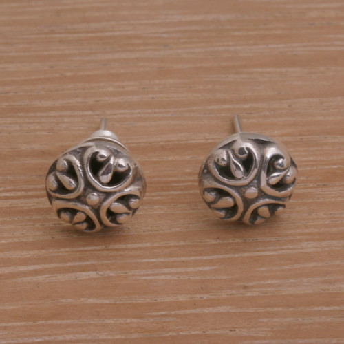 Circular Sterling Silver Stud Earrings from Bali 'Prideful Circles'
