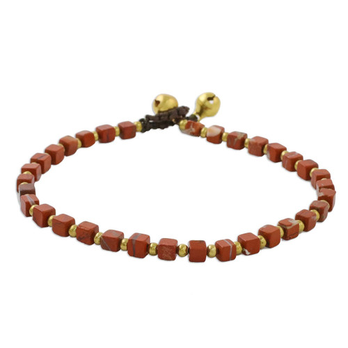 Jasper and Brass Beaded Anklet from Thailand 'Brilliant Day'