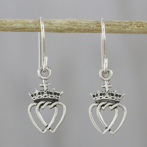 Thai Sterling Silver Dangle Earrings with Crowns and Hearts 'Crowned Hearts'