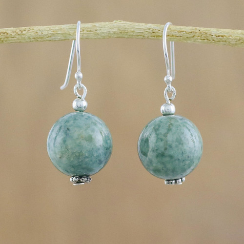 Jade Bead and Sterling Silver Dangle Earrings from Thailand 'Touch of Jade'