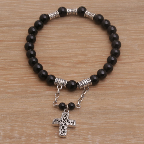 Onyx Beaded Stretch Bracelet with Sterling Silver Cross 'Shadow Cross'