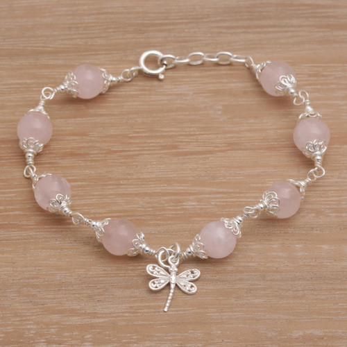 Rose Quartz Bead Charm Bracelet Sterling Silver Dragonfly 'Moonlight Dragonfly in Rose'