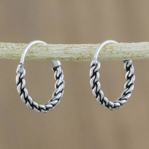 Hand Crafted Sterling Silver Hoop Earrings from Thailand 'Trendy Chain'