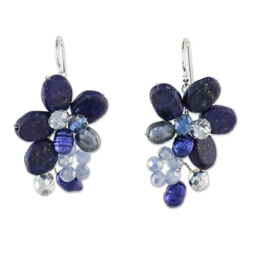 Lapis Lazuli and Cultured Pearl Earrings from Thailand 'Elegant Flora'