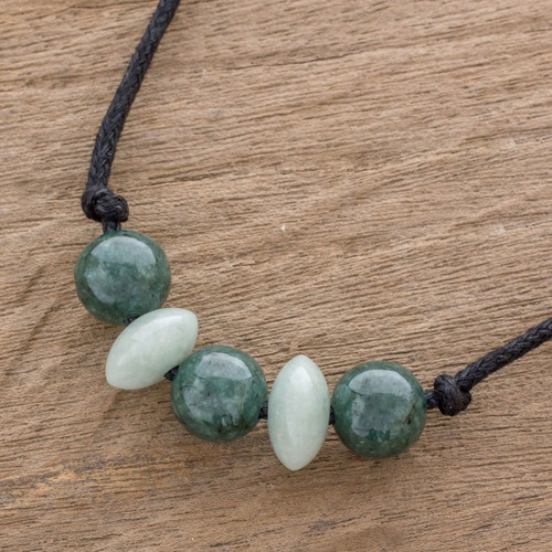 Circular Jade Beaded Pendant Necklace from Guatemala 'Planetary Combination'