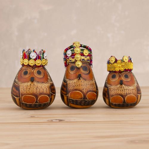 Owl Three Kings Gourd Figurines from Peru (Set of 3) 'Owl Kings'