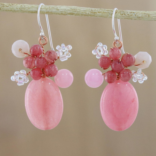 Handmade Pink Quartz Beaded Dangle Earrings from Thailand 'Blossom Blush'
