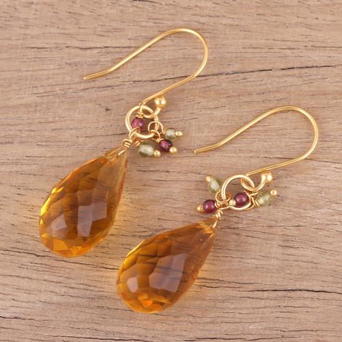 Handmade 22k Gold Plated Sterling Silver Gemstone Earrings 'Sunset Raindrops'