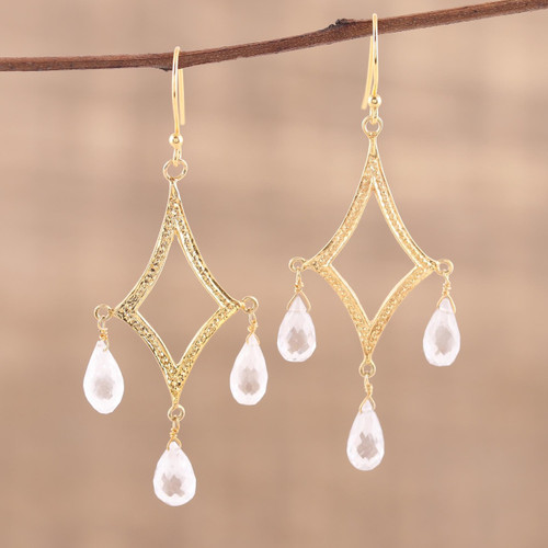 Crystal Quartz 22k Gold Plated Sterling Silver Earrings 'Cascading Drops'