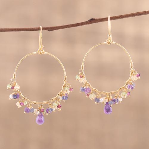 Handmade 22k Gold Plated Sterling Silver Gemstone Earrings 'Vibrant Shimmer'