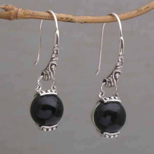 Handmade 925 Sterling Silver Onyx Dangle Earrings from Bali 'Tilem Moon'