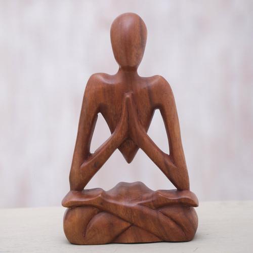 Wood Lotus Meditation Yoga Sculpture Hand Carved in Bali 'Natural Meditation'