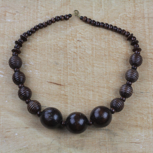 Dark Sese Wood Beaded Pendant Necklace from Ghana 'Great Tribe'