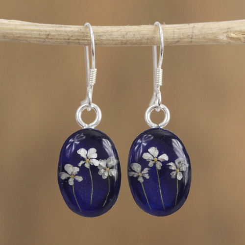 Oval Natural Flower Dangle Earrings from Mexico 'Three Flowers'