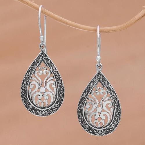 Sterling Silver Balinese Tendrils Tear Drop Dangle Earrings 'Silver Drop'