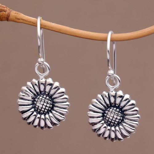Sterling Silver Daisy Flower Dangle Earrings from Bali 'Sweet Daisy'