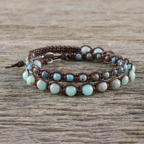 Handmade Unisex Beaded Macrame Wrap Bracelet from Thailand 'Oceanic Wanderer'